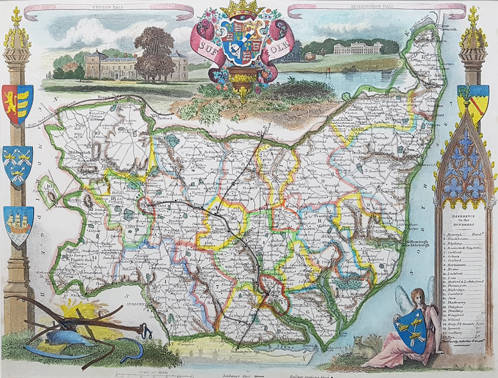 Suffolk antique map by Thomas Moule