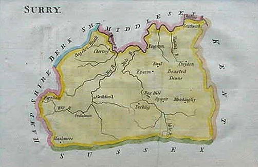 Antique map of Surrey by John Aikin 1803