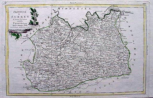 Antique County Map of Surrey dated 1779 by Antonio Zatta