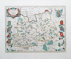 Surrey antique map by Blaeu