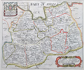 Surrey map by Richard Blome for sale 1673
