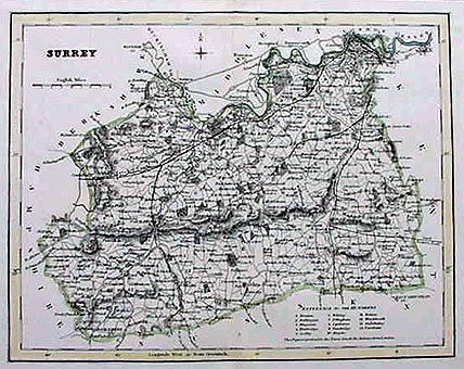 Antique Map of Surrey 1833