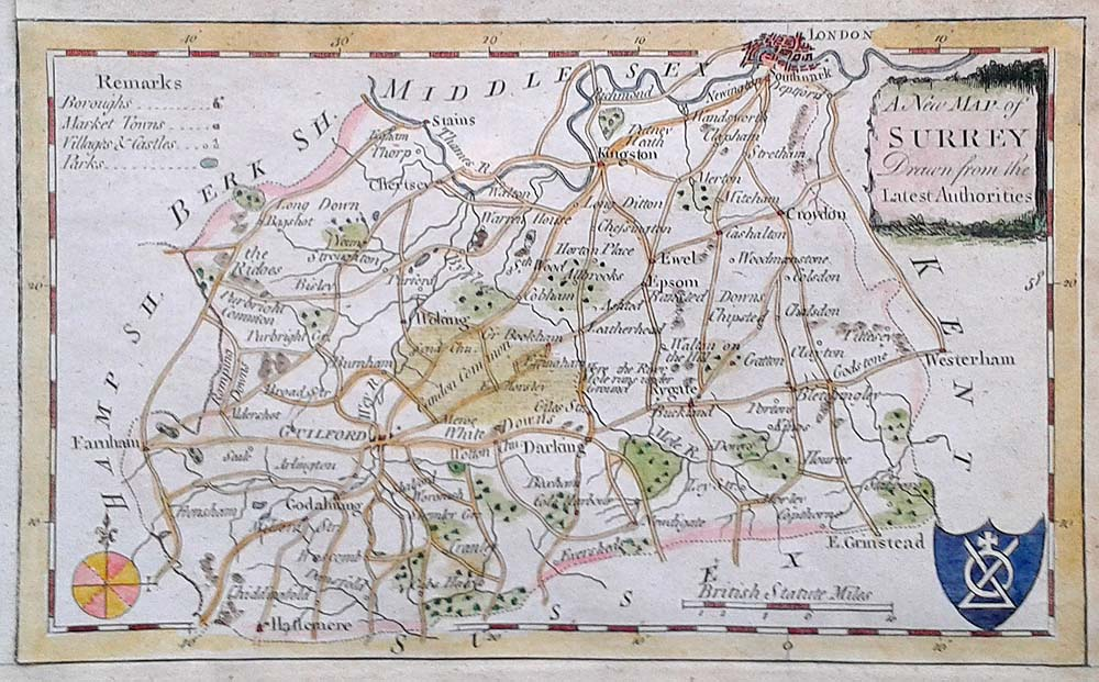 18th century map of Surrey George Walpoole