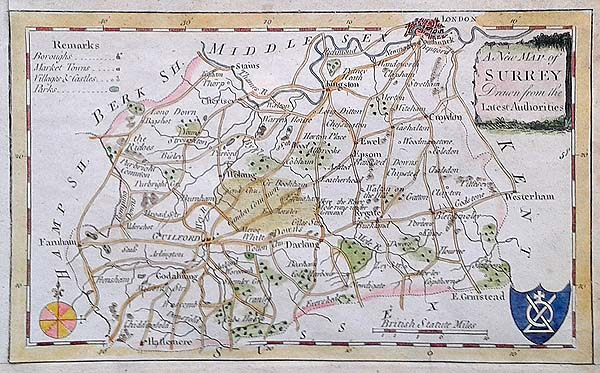 Surrey 18th Century Map