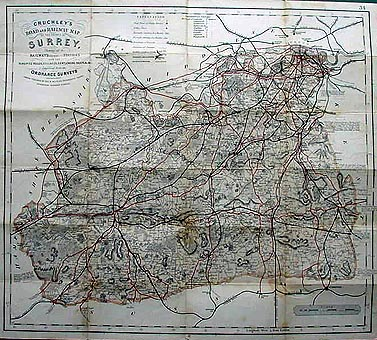 Antique Map of Surrey by Cruchley