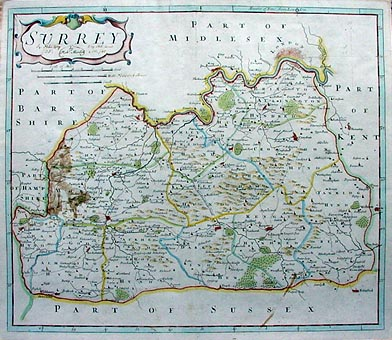 Antique map of Surrey by7 Robert Morden