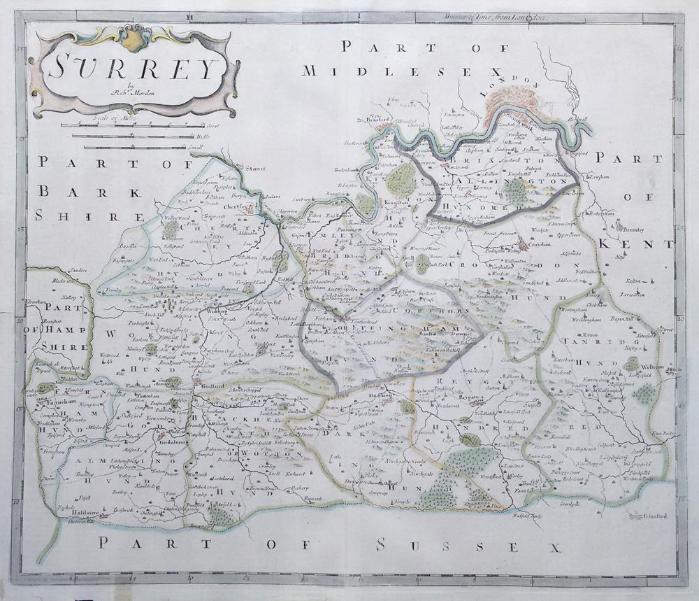 Antique Old Maps Of Surrey Antique Historical Th Th Century - Antique maps for sale australia