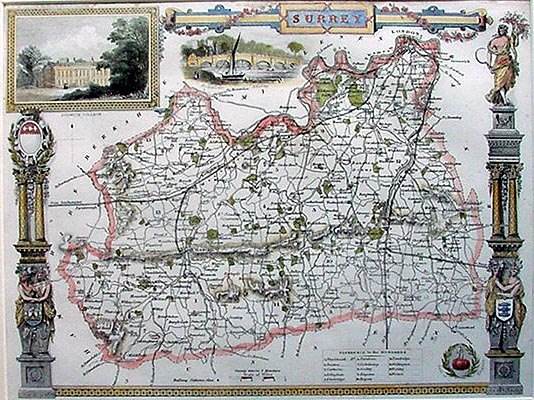 Antique Map of Surrey by Thomas Moule