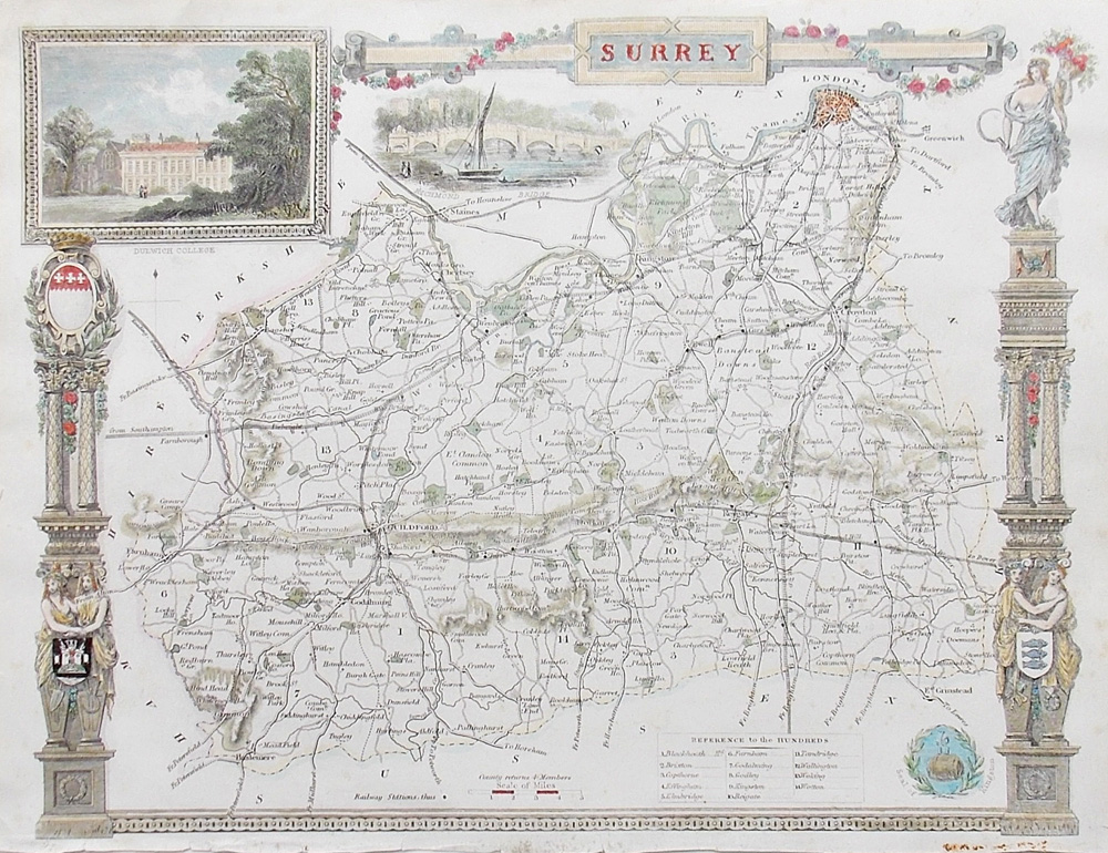 Surrey county map - 19th century