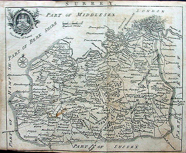 Antique 18th Century Map of Surrey by Samuel Simpson