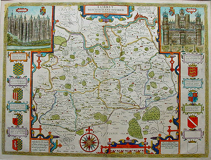Antique Map of Surrey by John Speed