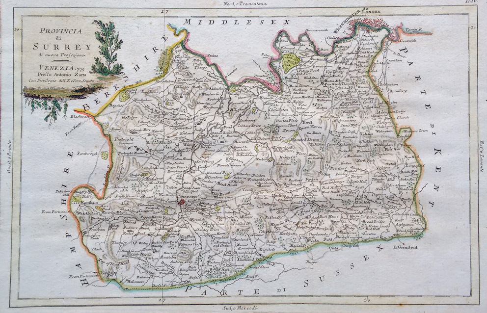 Antique map of surrey for sale antonio zatta surrey map by zatta gumiabroncs Images