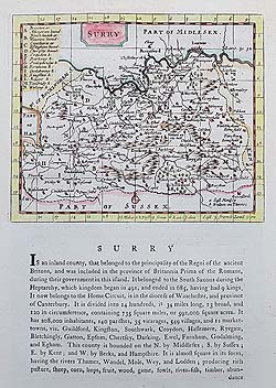 Seller Grose 18th century map of Surrey for sale