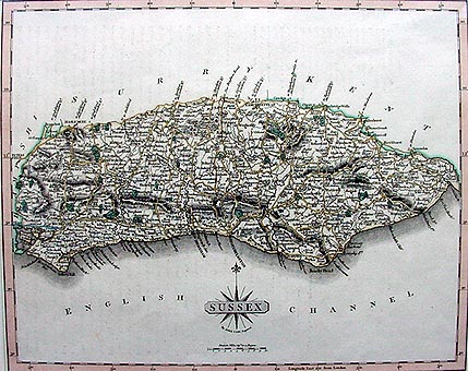 Antique Map of Sussex by John Cary