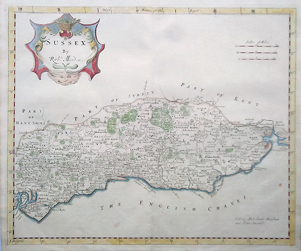 Antique Map of Sussex County by Robert Morden