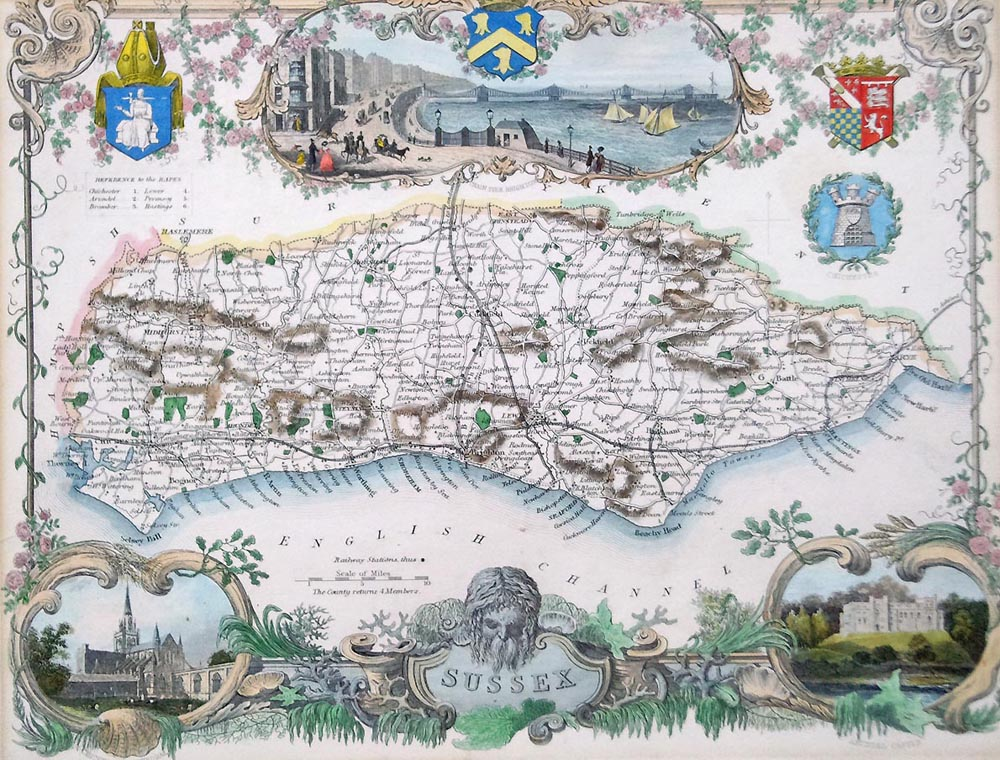 Antique map of Sussex by Thomas Moule