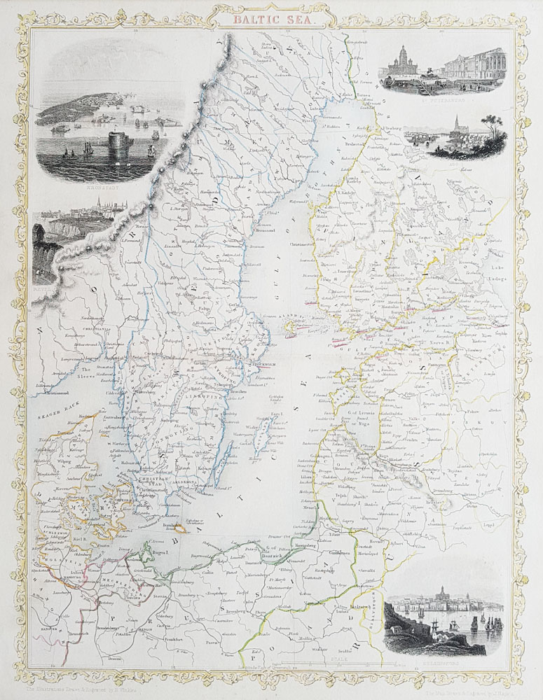 19th Century Antique Map of The Baltic Sea - Finland and Sweden by Rapkin