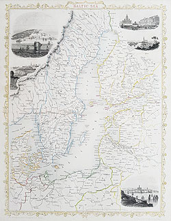 Sweden - Finland - Estonia - Latvia - Lithuania antique map