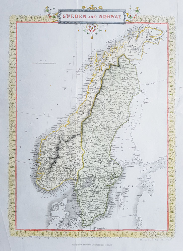19th Century Antique Map of The Baltic Sea - Norway and Sweden by Rapkin