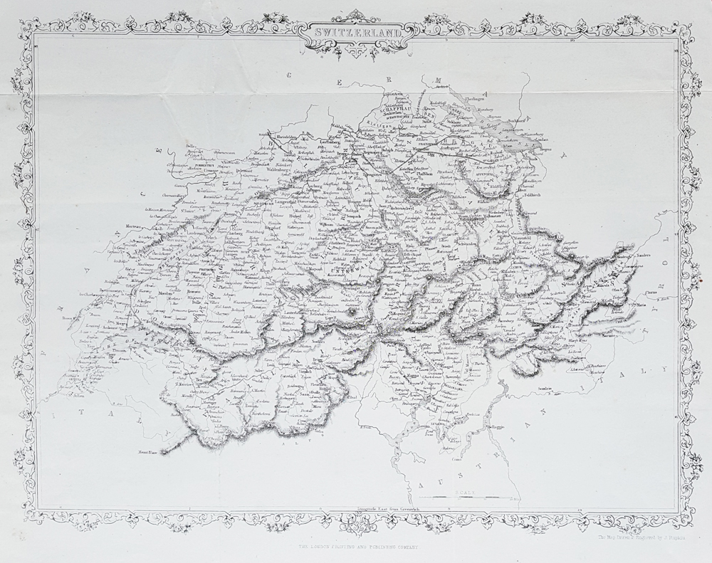 19th century map of Switzerland for sale by John Rapkin