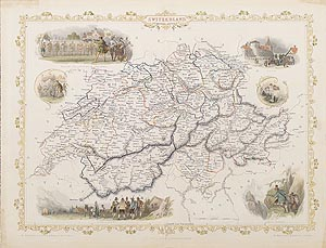 Switzerland antique map for sale