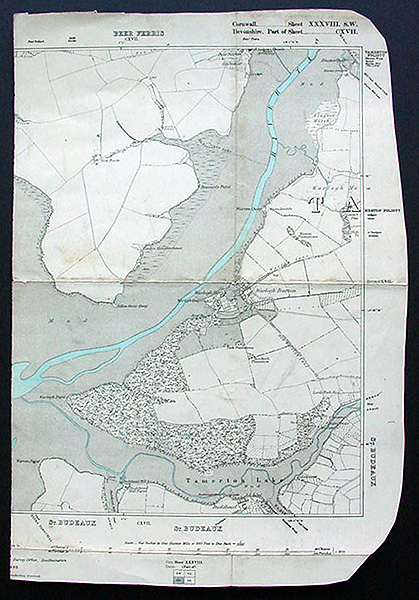 River Tavy Devon - Antique Ordnance Survey Map