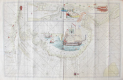 River Thames 17th century sea chart by Greenville Collins for sale