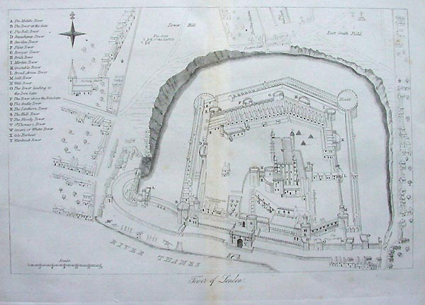 Antique Map Of The Tower Of London Circa 1860