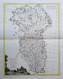 Ulster and Leinster antique map for sale by Zatta