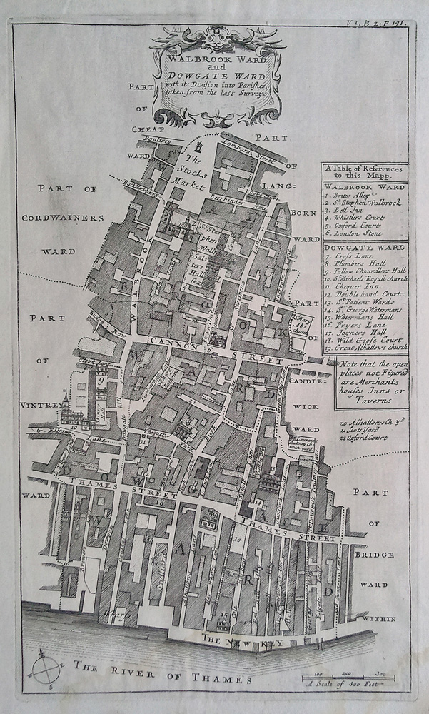 Antique Plan Of Walbrook And Dowgate Wards London Circa 1720