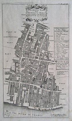 Wallbrook and Dowgate wards antique plan