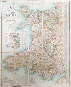 Wales and Monmouth Folding antique map for sale