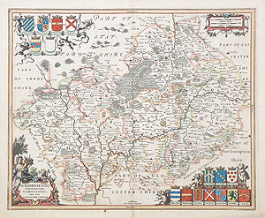 antique map of Warwickshire Worcestershire by Jansson