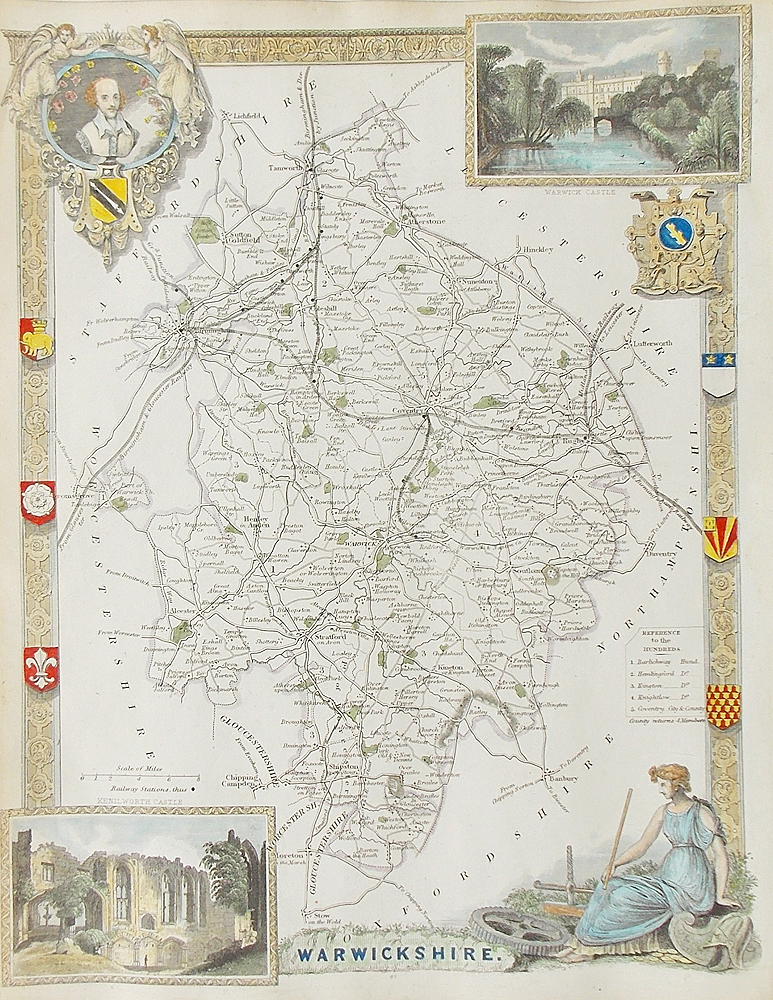 Antique map of Warwickshire by Thomas Moule
