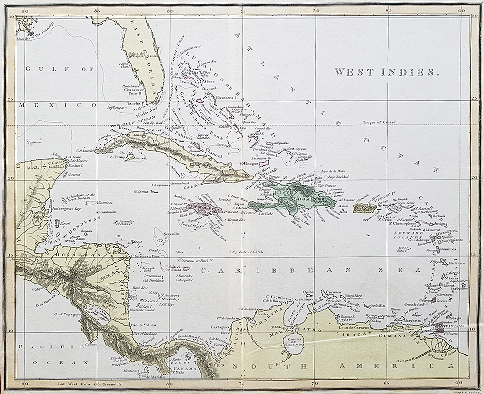 Early 19th century antique map of the West Indies for sale by Cooper