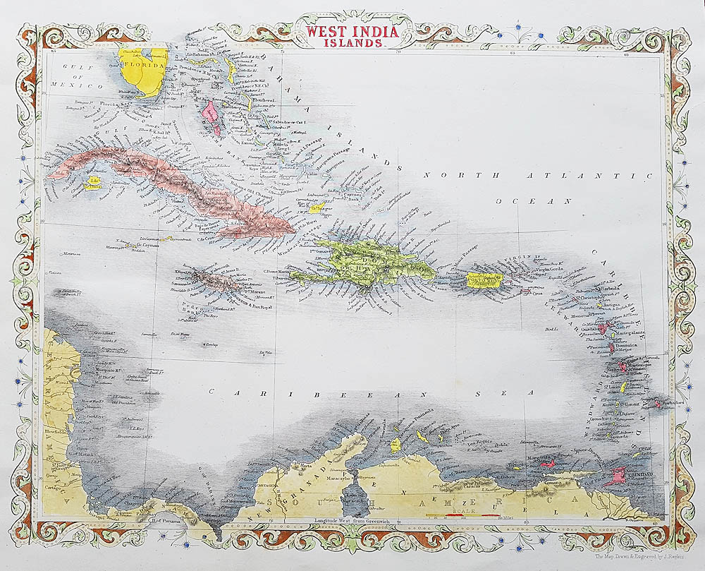 West Indies Caribbean antique map by Rapkin for sale
