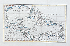 West Indies Caribbean antique map for sale