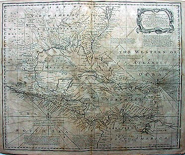 Antique Chart of the West Indies with the USA and South America