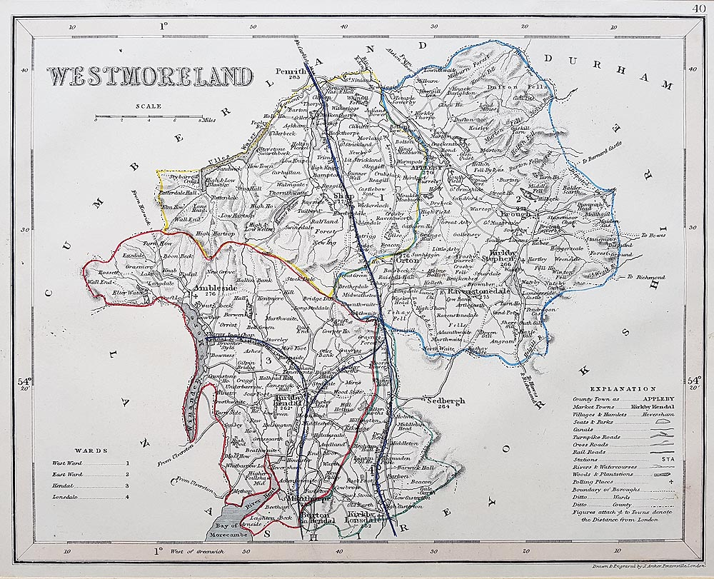 Antique Map of Westmoreland by Joshua Archer for sale