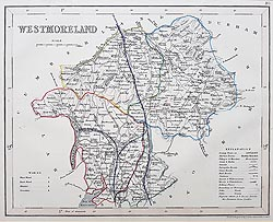 Westmorland map by Archer - Victorian