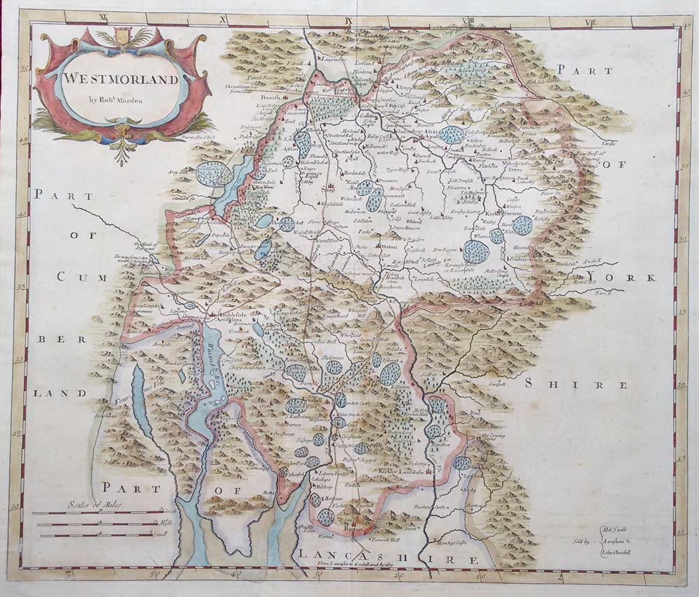 18th century map by Robert Morden of Westmorland