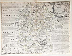 Antique Map of Wiltshire by Emanuel Bowen for sale