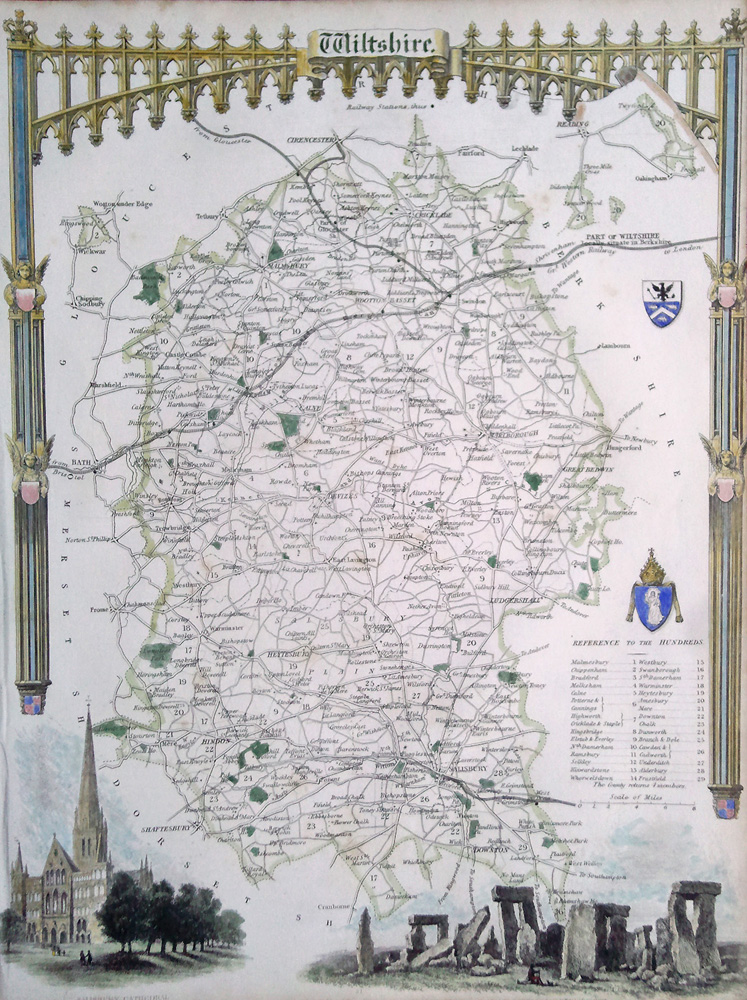 Antique map of Wiltshire by Thomas Moule