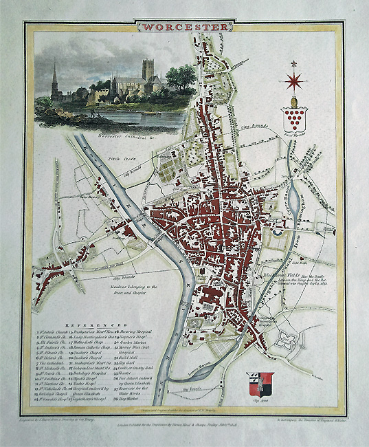 Antique Town Map of Worcester