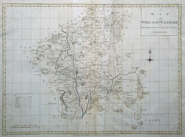 Antique Map of Worcestershire by Harrison