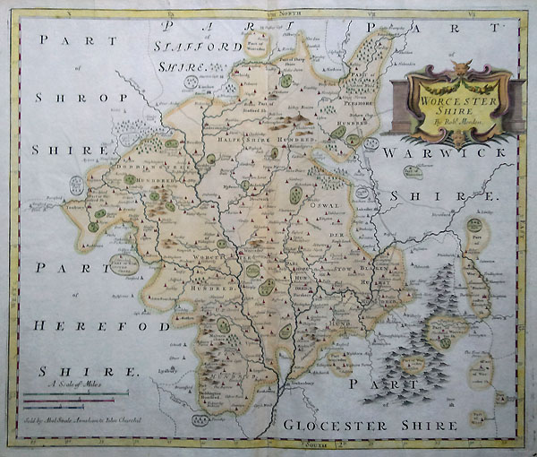 Antique Map of Worcestershire by Robert Morden