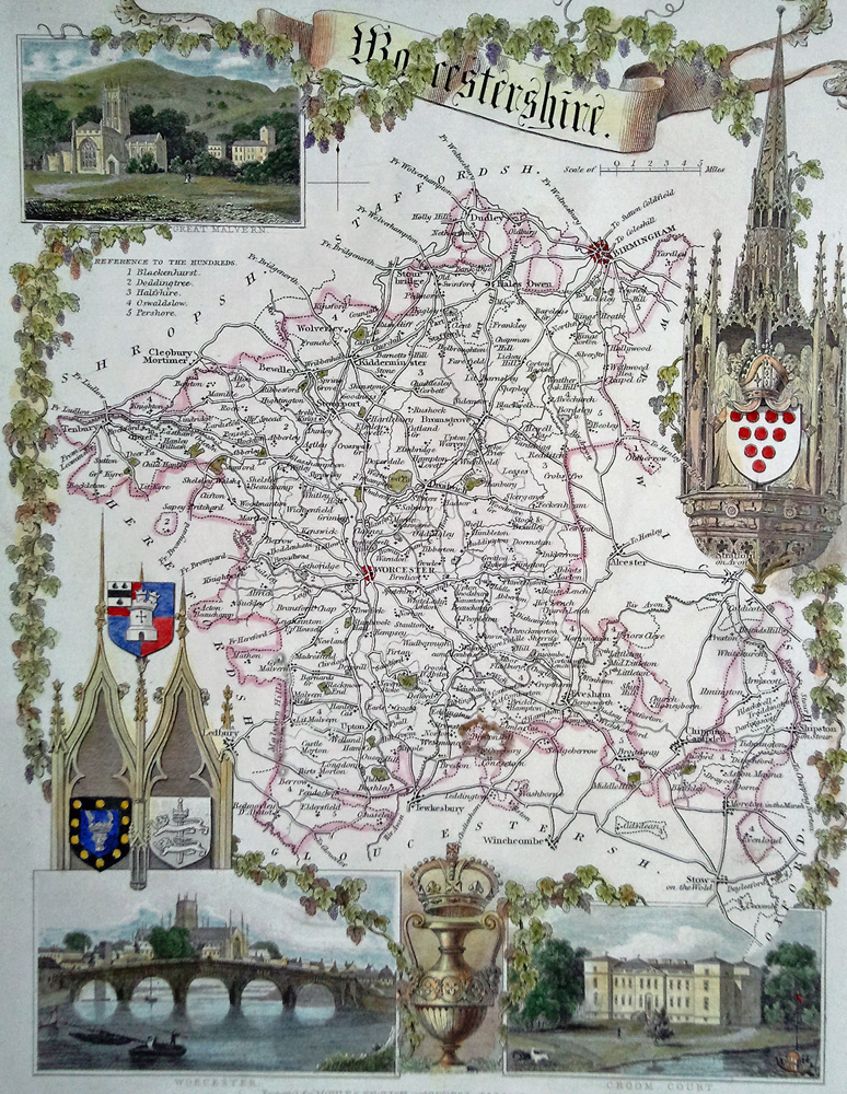 Antique map of Worcestershire by Thomas Moule