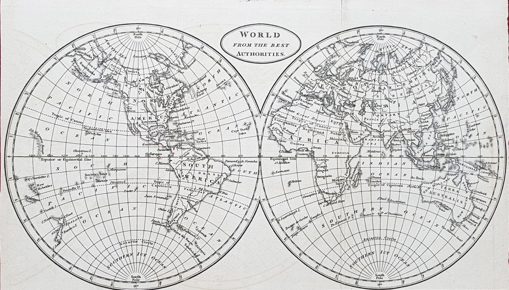 Antique twin hemisphere map of the World circa 1820