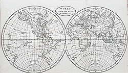 Antique world maps 18th and 19th century for sale world twin hemisphere map for sale gumiabroncs Images