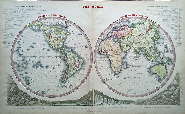 Antique Maps of the World Twin Hemispheres Decorative